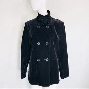 GALLERY Black Velvet Double Breasted Jacket Sz. M